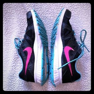 Nike black pink and blue sneakers size 10